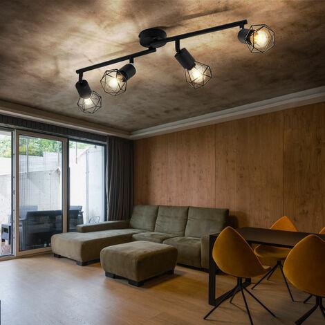 Plafonnier noir salon salle à manger éclairage rétro cage spot réglable Globo 58402S-4