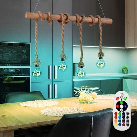 Lampe suspendue vintage télécommande poutres en bois plafonnier corde pendentif dimmable dans un ensemble avec illuminant LED RGB