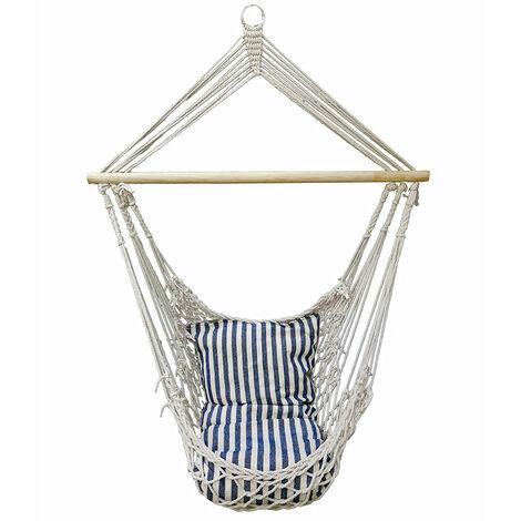 Plafonds de jardin siège suspendu bois meubles de patio extérieur chaise de balcon textile bleu blanc Harms 507287