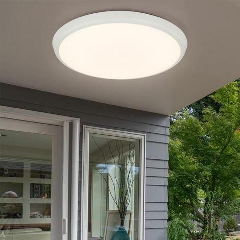 Plafonnier LED lampe opale capteur blanc IP65 éclairage extérieur salle de bain