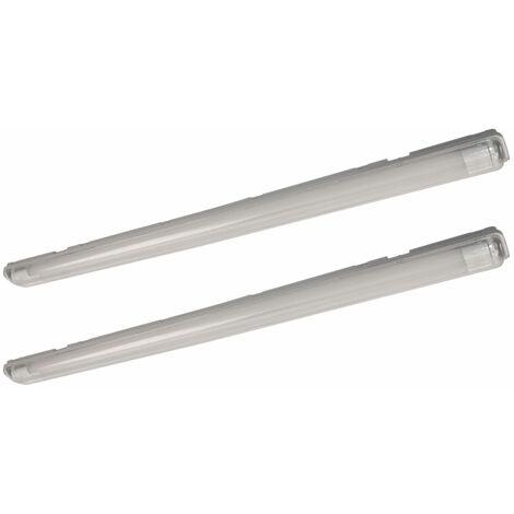 Lampe LED étanche à l'humidité 66 cm Lampe d'atelier blanc neutre Lampe de baignoire LED 36 watts Tube LED garage, 2x T8 36W 2x 1700lm 4000K, lot de 2