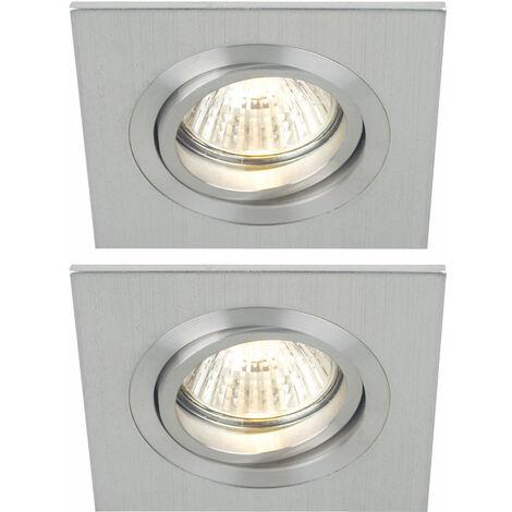 Lot de 2 spots de plafond salon salle de bain lampes encastrées ALU lumières spots éclairage pivotant