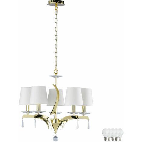 Cristal lustre salon laiton plafond suspendu lampe textile ensemble y compris les ampoules LED