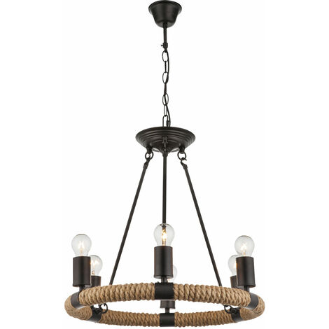 Chanvre corde lustre salon éclairage télécommande plafond suspension lampe lustre suspendu dimmable