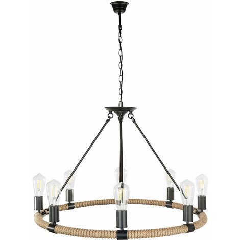Lustre salon filament lampe suspension corde de chanvre suspension dans l'ensemble, y compris les ampoules LED