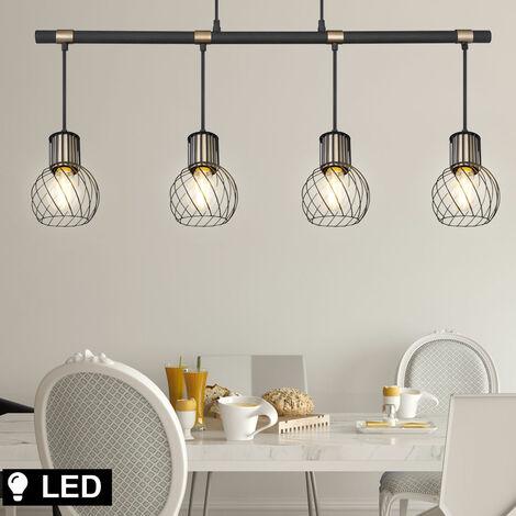 Pendule plafonnier poutres salon grille suspension lampe GOLD DIMMER dans un ensemble comprenant un illuminant LED