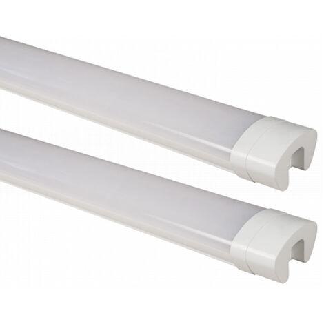 2x baignoires LED, lampes, tubes, halls, plafonds, pièces humides, garages, lumière, blanc neutre