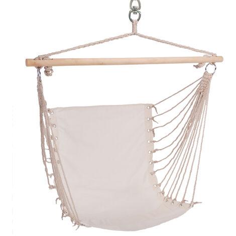Chaise suspendue balançoire balançoire coton bois feuillus beige jardin chambre terrasse, 28 cordes, x H 60 x 100 cm