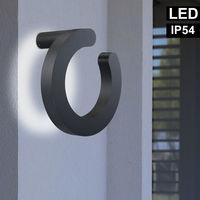 Applique murale LED anneau design ALU spots éclairage de façade jardin lampe d'extérieur gris Globo 34273