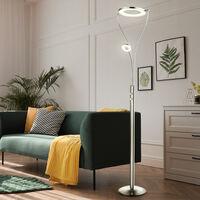 Lampadaire uplight LED dimmable avec lampe de lecture Lampadaires LED avec variateur, spot de lecture flexible nickel mat, 2x LED blanc chaud, H 193 cm