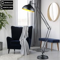 Lampadaire, réglable en hauteur, lampadaire BLACK GOLD spot mobile dans un ensemble comprenant des ampoules LED