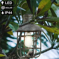 Lampe à suspension solaire LED cage de lanterne de jardin suspendu à l'extérieur de la lampe de balcon noir antique Harms 507253