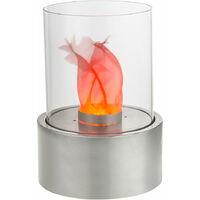 LED table cheminée lumière feu flammes effet lampe verre argent salon décoration lumière Globo 93100