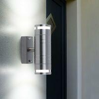 Lot de 2 lampes d'extérieur up down spots éclairage mural de façade lampes spot de jardin en acier inoxydable