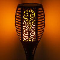 Ensemble de 2 lampes solaires de jardin à LED, effet de feu, éclairage extérieur, prise de terre, prise de courant, lumières noires