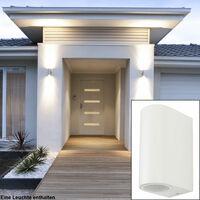 Lot de 2 appliques UP DOWN spots éclairage de façade terrasses lampes d'extérieur ALU blanc
