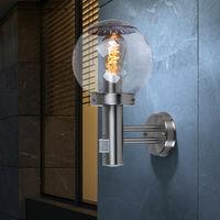 Lot de 2 luminaires extérieurs, détecteurs de mouvement, façades, spots muraux, lampes boule de verre, inox IP44