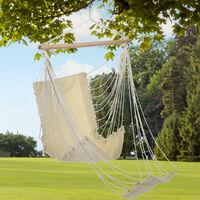 Chaise suspendue pour l'extérieur Chaise suspendue balançoire suspendue, avec repose-pieds, charge max 120 kg beige, Lxl 100 x 60 cm, balcon jardin