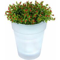 Pot de fleur solaire LED pot de fleur pot de fleur lumineux éclairage solaire, blanc satiné, batterie LED blanc neutre, H 19 cm