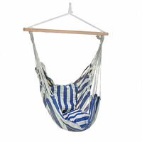 Hamac Chaise Hamac Chaise Blanc Bleu Bois Coton Coussins Jardin Chambre Patio Cour