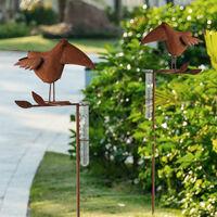 2 pluviomètre optique minable en fer prise de jardin mesure de décoration de jardin d'oiseau, jauge de pluie en fer optique d'oiseau, H 115 cm