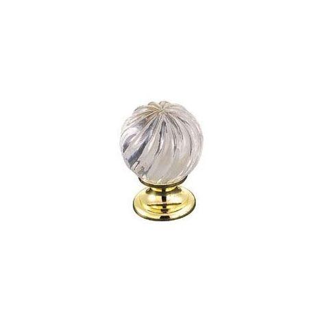 Bouton cristal - Hauteur : 35 mm - Décor : Cristal / Doré - Diamètre : 25 mm - Matériau : Cristal / Laiton - FOSUN - Matériau : Cristal / Laiton