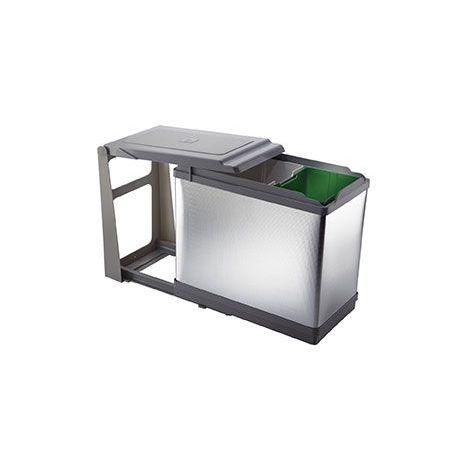 Poubelle coulissante - 27 l - Décor : Aluminium - ELLETIPI - Largeur : 265 mm