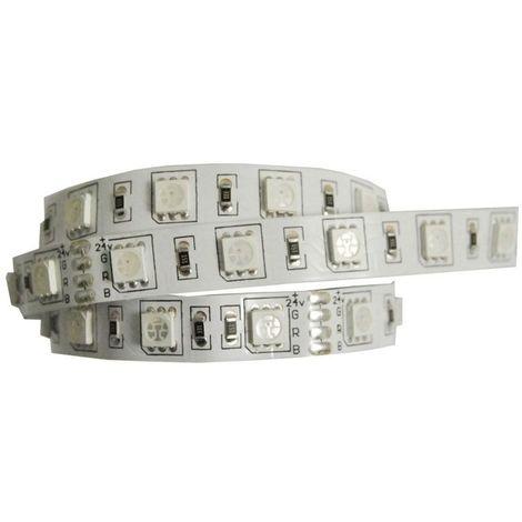 Bande led rvb 24v - : - Puissance : 12 W/m - : - Fixation : Adhésive - Couleur de la lumière : RVB - Indice de protection : IP 20 - Décor : Blanc - Type d'éclairage : LED - Longueur : 5000 mm - L - Indice de protection : IP 20