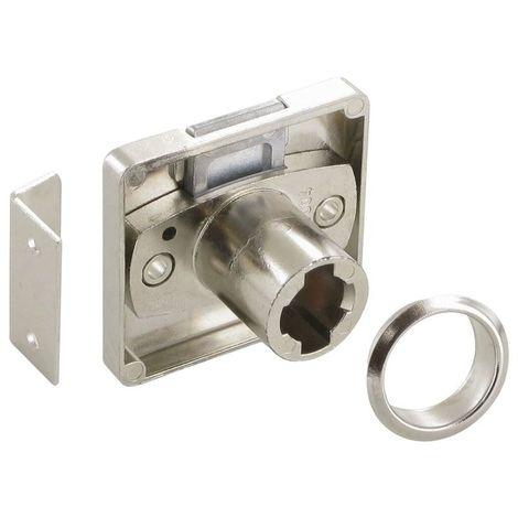 Serrure à plaquer tiroir - Décor : Nickelé - Sens : Tiroir - Axe : 25 mm - Barillet : Z23 - LEHMANN - Barillet : Z23