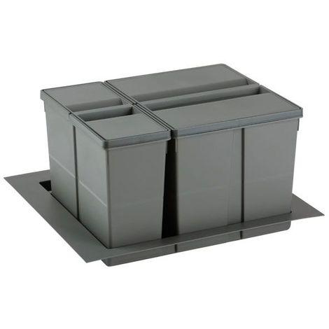 Poubelle sélective pour caisson de 600mm - Nombre de seaux : 2 - Contenance : 37 L - Pour caisson de largeur : 600 mm - Décor : Anthracite - Hauteur : 277 mm - Largeur mini : 429 mm - Largeur maxi : - Décor : Anthracite