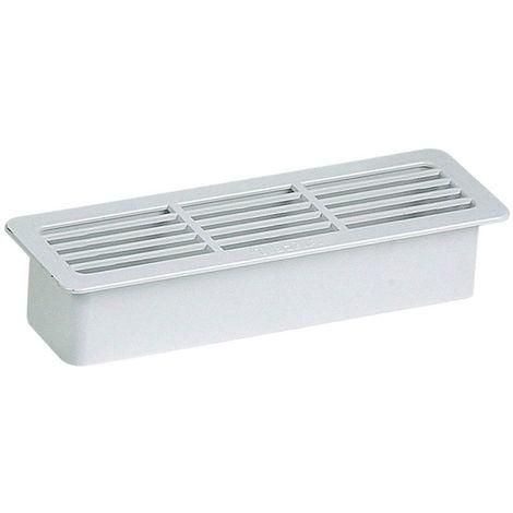Grille extérieure rectangulaire pvc - Décor : Blanc - Section : 55 x 220 mm - Matériau : PVC - UNELVENT - Vendu à l'unité