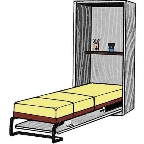 Mécanisme de lit abattant vertical - Largeur du sommier : 900 mm - Longueur du sommier : 1900 mm - Charge maxi : 40 kg - D : 960 mm - a : 2090 mm - C : 2135 mm - PARDO - Vendu à l'unité