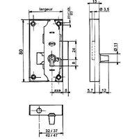 Serrure encloisonnée espagnolette - Axe : 20 mm - Sens : Droite - Décor : Acier brut - Largeur : 50 mm - SERFA - Décor : Acier brut