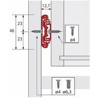 Coulisses à billes ka 4532 silent system - Longueur : 400 mm - Profondeur intérieur de caisson mini : 404 mm - HETTICH - Amortisseur : Avec