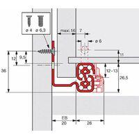 Coulisse bois quadro v6 avec silent system - Profondeur intérieur de caisson mini : 363 mm - Longueur : 350 mm - HETTICH - Montage : Sous tiroir
