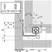 Coulisse bois quadro 25 silent system - Profondeur intérieur de caisson mini : 313 mm - Longueur : 300 mm - HETTICH - Montage : Sous tiroir