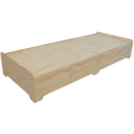 Estructura Cama Pouf Box 80x200cm en contrachapado fenolico - 80 X200 X34 cm - Crudo