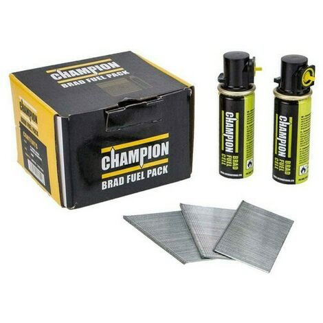 Champion 16G 19mm 2nd Fix Straight Galvanised Brad Nails 2000 PCs + 2 Fuel Cells