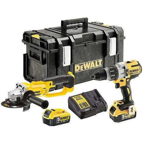 DeWalt DCK278P2T 18V Combi Drill & Angle Grinder Twin Pack with 2x 5.0Ah Batteries