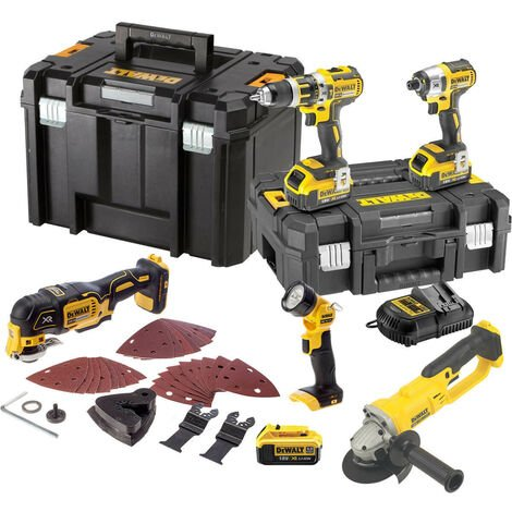 DeWalt TDKIT5x4 XR 18V 5 Piece Kit with 3x 4.0Ah Batteries