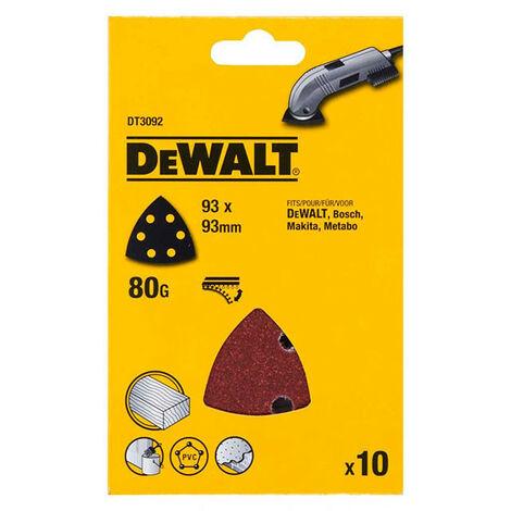 DeWalt DT3092-QZ Detail Sanding Sheets -93 x 93mm 80g Pack of 10