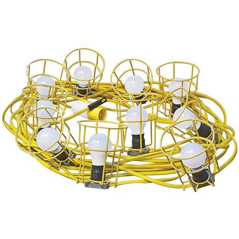 Faithfull Power Plus FPPSLFESTLED Festoon Lights Low Energy 10 LED Bulbs 110V 22m