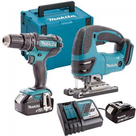 Makita DLX2134TJ-2 18V Combi Drill & Jigsaw Twin Pack with 2x 5.0Ah Batteries