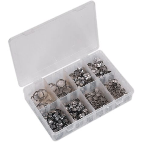 Sealey AB043SE O-Clip Single Ear Assortment 160pc Stainless Steel