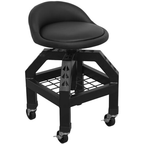 Sealey SCR03B Creeper Stool Pneumatic with Adjustable Height Swivel Seat & Back Rest