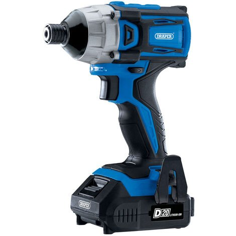 """Draper 86958 D20 20V Brushless 1/4"""" Impact Driver with 2x 2.0Ah Batteries and Charger (180Nm)"""
