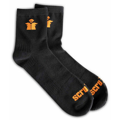 Scruffs T54884 Black Worker Lite Socks Size 7-9.5 (Pack of 3)