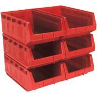 Sealey TPS56R Plastic Storage Bin 310 x 500 x 190mm - Red Pack of 6