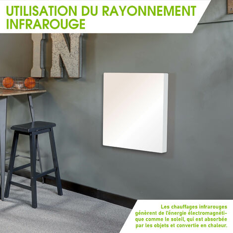 Convecteur rayonnant mobile / mural 600W 60x60x4 cm conception ultra-plate régulateur thermostatique intégré – radiateur hybride sol / mural, infrarouge de BRAST