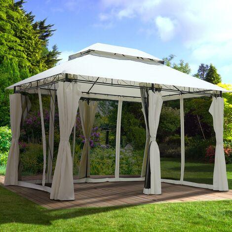 Tonnelle de Jardin 3x4 2,65H beige moustiquaire très stable imperméable 100% acier revêtu de PA - Tonnelle Easiness 3x4m - Pavillon de Brast